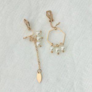 Asymmetric Geometric Clip-On Earrings